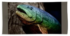Hand Towel featuring the photograph Rainbow Trout Wood Sculpture Square by John Stephens