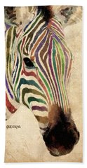 Hand Towel featuring the painting Rainbow Zebra by Greg Collins