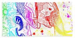 Rainbow Zentangle Elephant Hand Towel
