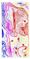 Rainbow Zentangle Elephant Bath Towel