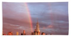Rainbows In Nyc Bath Towel by Anthony Fields