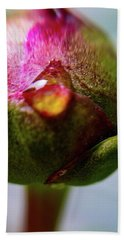 Raindrop On Peonie Hand Towel by Bruce Carpenter