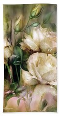 Raindrops On Antique White Roses Hand Towel