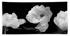 Raindrops On Peonies Black And White Panoramic Hand Towel by Gill Billington