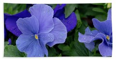 Raindrops On Purple Pansy Hand Towel