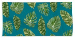 Rainforest Resort - Tropical Leaves Elephant's Ear Philodendron Banana Leaf Hand Towel