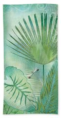 Rainforest Tropical - Elephant Ear And Fan Palm Leaves W Botanical Dragonfly Bath Towel