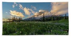 Rainier Wildflowers Golden Lenticular Sunset Hand Towel by Mike Reid