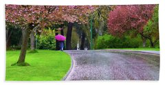 Rainy Day In The Park Hand Towel by Keith Boone