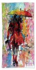 Hand Towel featuring the painting Rainy Day by Kovacs Anna Brigitta