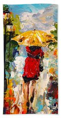 Hand Towel featuring the painting Rainy Days by Alan Lakin