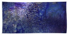 Rainy Night - Blue Contemporary Abstract Art Bath Towel