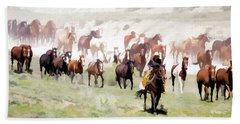 Raising Dust On The Great American Horse Drive In Maybell Colorado Bath Towel
