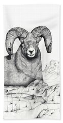 Bath Towel featuring the drawing Ram by Mayhem Mediums