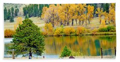 Ranch Pond In Autumn Hand Towel