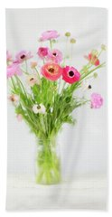Ranunculus And Anemones Painterly Bath Towel