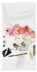 Ranunculus With First Watercolor Bath Towel