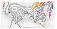 Rarin' To Go -- Stylized Medieval Prancing Horse W/ Rainbow Mane Hand Towel
