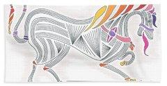 Rarin' To Go -- Stylized Medieval Prancing Horse W/ Rainbow Mane Bath Towel