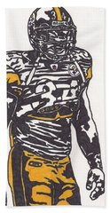 Bath Towel featuring the drawing Rashard Mendenhall 2 by Jeremiah Colley