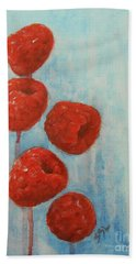 Raspberries Hand Towel by Jane See