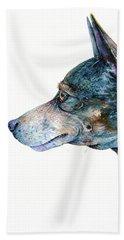 Bath Towel featuring the painting Rat Terrier by Zaira Dzhaubaeva