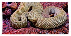Rattlesnake In Abstract Bath Towel