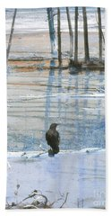 Raven About The Yellowstone Bath Towel by Ann Johndro-Collins