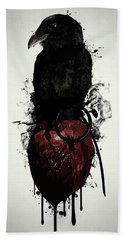 Hand Towel featuring the digital art Raven And Heart Grenade by Nicklas Gustafsson