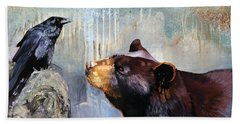 Raven And The Bear Bath Towel