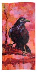 Raven Bright Hand Towel by Mary Schiros
