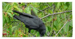 Raven In The Cherry Tree Bath Towel