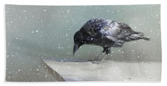 Raven In Winter Bath Towel