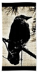 Raven On The Lookout Bath Towel