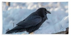 Hand Towel featuring the photograph Raven by Paul Freidlund