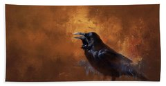 Hand Towel featuring the painting Raven by Theresa Tahara