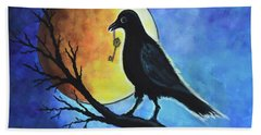 Hand Towel featuring the painting Raven With Key by Agata Lindquist