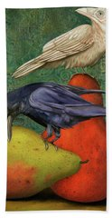 Bath Towel featuring the painting Ravens On Pears by Leah Saulnier The Painting Maniac