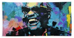 Bath Towel featuring the painting Ray Charles by Richard Day