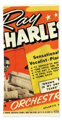 Ray Charles Rock N Roll Concert Poster 1950s Bath Towel