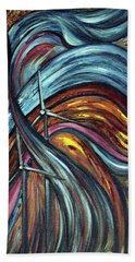 Hand Towel featuring the painting Ray Of Hope 2 by Harsh Malik