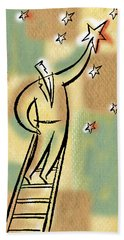 Bath Towel featuring the painting Reaching For The Star by Leon Zernitsky