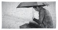 Reading In The Rain - Umbrella Hand Towel