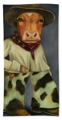 Real Cowboy 2 Hand Towel by Leah Saulnier The Painting Maniac