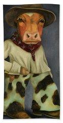 Real Cowboy 2 Bath Towel by Leah Saulnier The Painting Maniac