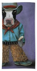 Bath Towel featuring the painting Real Cowboy by Leah Saulnier The Painting Maniac