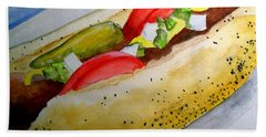 Real Deal Chicago Dog Hand Towel by Carol Grimes