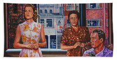 Hand Towel featuring the painting Rear Window by Michael Frank