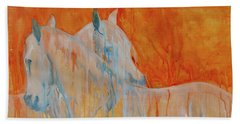 Hand Towel featuring the painting Reciprocity by Jani Freimann