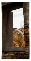 Reclining Buddha View Through A Window Hand Towel by Ulrich Schade